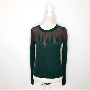 Lucca Couture Green and Copper Sweater Size Small